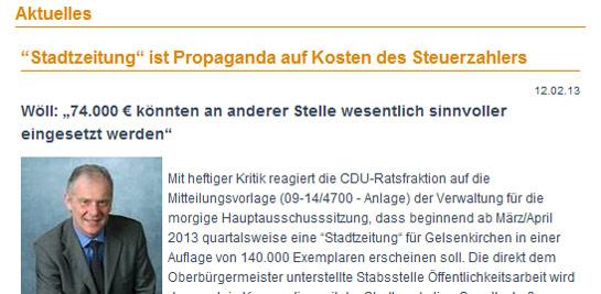 Stadtzeitung GE: Zerrissen bevor sie gedruckt wurde.