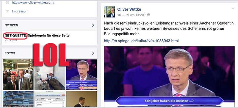 """Gelsenkirchens Ex-OB Oliver Wittke denunziert auf seiner Facebook Seite die gescheiterte """"Wer wird Millionär""""-Studentin als Opfer rot-grüner Bildungspolitik und leistet damit ein Paradebeispiel für moralisches Scheitern. Wahrscheinlich - was es noch trauriger macht - unabsichtlich."""