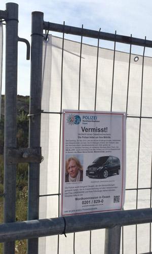 Fahnung nach Annette Lindemann am Areal