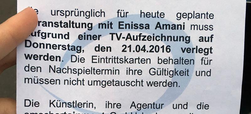 Enissa Amani verärgert Gelsenkirchener