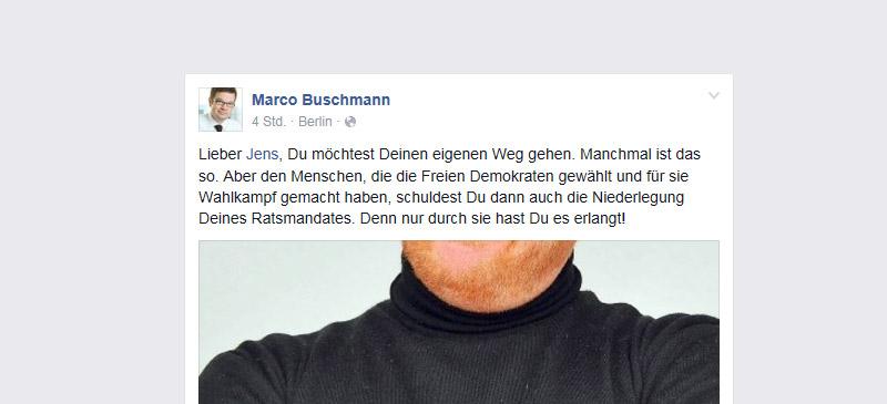 Marco Buschmann von der FDP fordert bei Facebook die Rückgabe des Ratsmandates des inzwischen aus der FDP ausgetretenen Jens Schäfer.